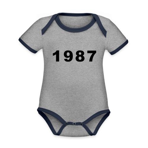1987 - Baby contrasterend bio-rompertje met korte mouwen