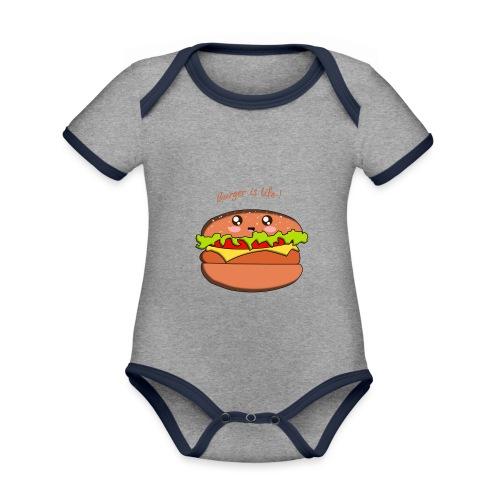 hamburger - Body Bébé bio contrasté manches courtes