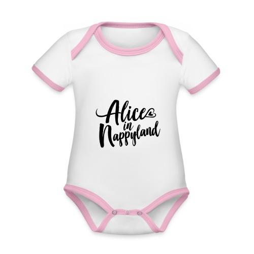 Alice in Nappyland Typography Black 1080 1 - Organic Baby Contrasting Bodysuit