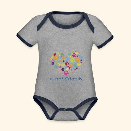 CUOREZAMPE - Body da neonato a manica corta, ecologico e in contrasto cromatico