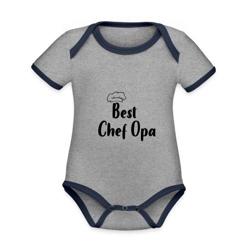 Alles voor Moeder en Kind Best Chef Opa - Baby contrasterend bio-rompertje met korte mouwen