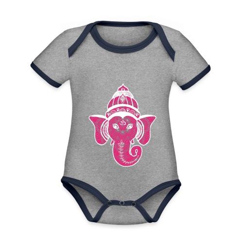 shiva namaste yoga pace amore hippie fitness art - Body da neonato a manica corta, ecologico e in contrasto cromatico
