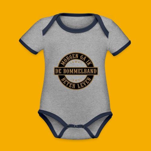 bb logo rond shirt - Baby contrasterend bio-rompertje met korte mouwen