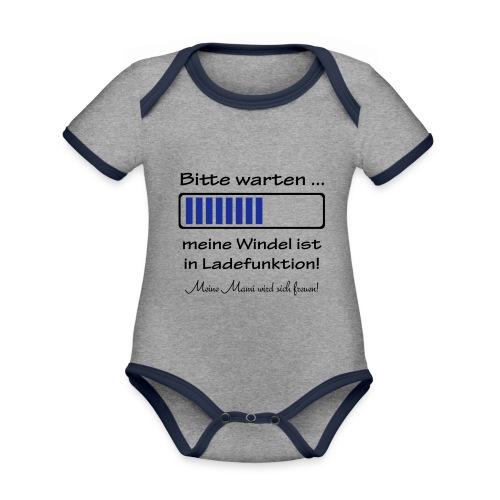 Bitte Warten ... meine Windel ist in Ladefunktion - Baby Bio-Kurzarm-Kontrastbody