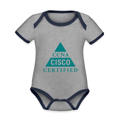 ccna male - Ekologiczne body niemowlęce z krótkim rękawem i kontrastowymi lamówkami