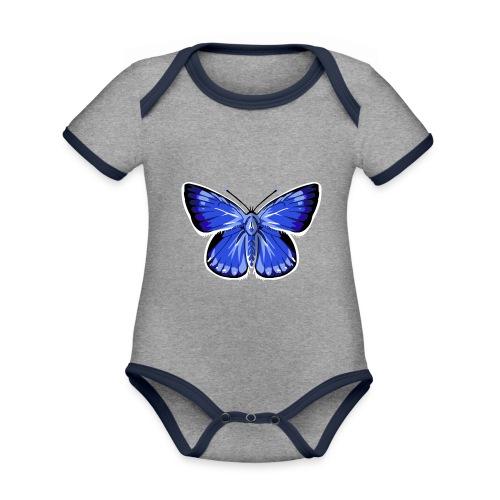 vlinder2_d - Baby contrasterend bio-rompertje met korte mouwen