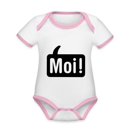 hoi shirt front - Baby contrasterend bio-rompertje met korte mouwen