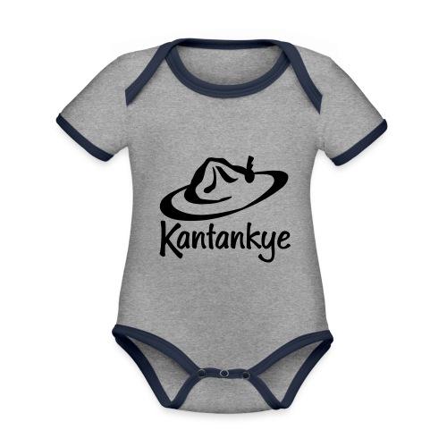 logo hoed naam - Baby contrasterend bio-rompertje met korte mouwen