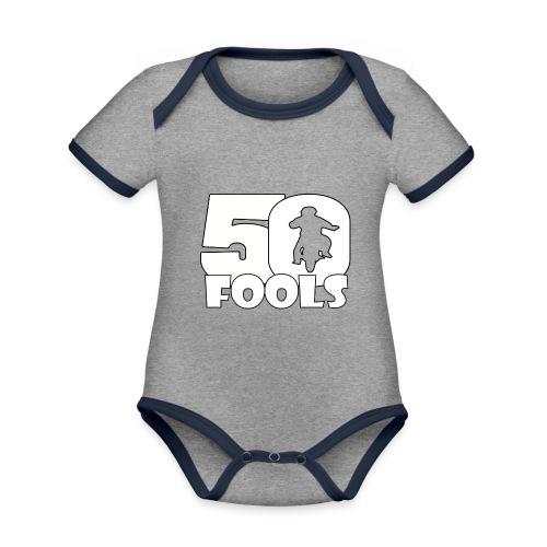 50FOOLSLOGOSPREADSHIRT png - Baby contrasterend bio-rompertje met korte mouwen