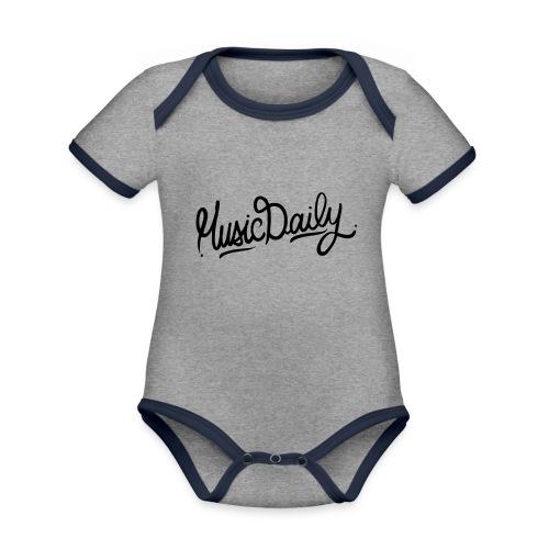 MusicDaily Logo - Baby contrasterend bio-rompertje met korte mouwen