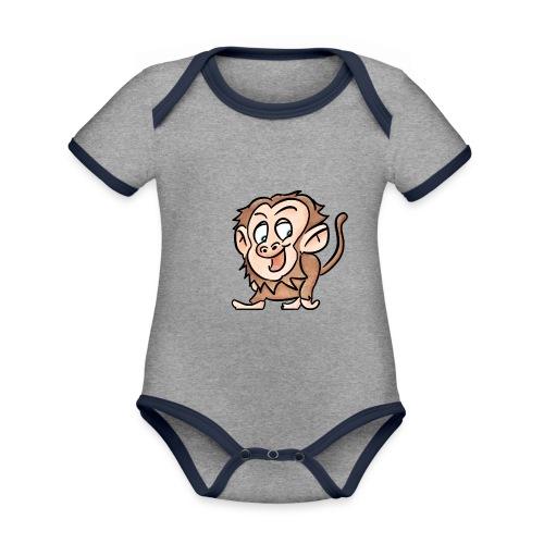 Aap - Baby contrasterend bio-rompertje met korte mouwen