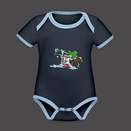Wicked Washing Machine Wasmachine - Baby contrasterend bio-rompertje met korte mouwen