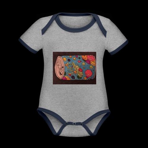 7AABC614 53CA 4156 B765 D9FBF5B8E496 - Kortærmet ækologisk babybody i kontrastfarver
