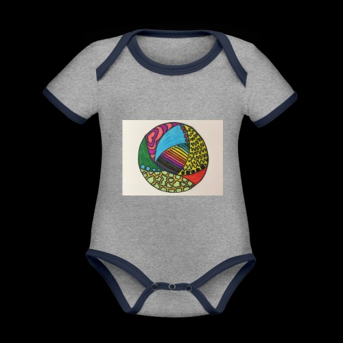 circle corlor - Kortærmet ækologisk babybody i kontrastfarver