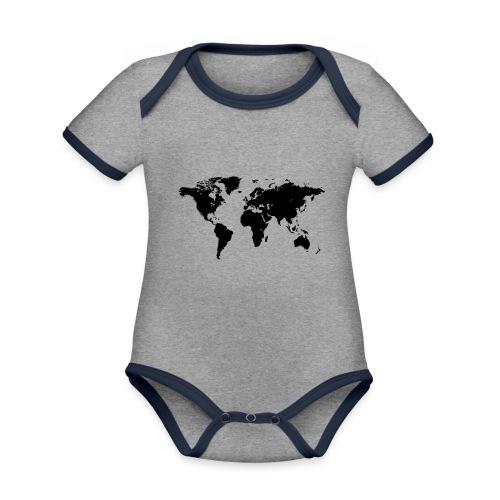 World Map - Baby Bio-Kurzarm-Kontrastbody