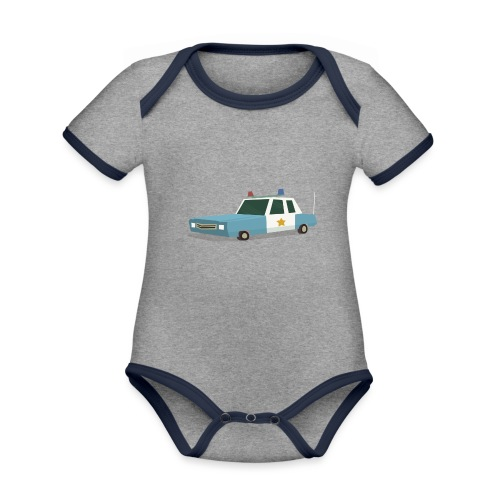 Police car t shirt - Organic Baby Contrasting Bodysuit