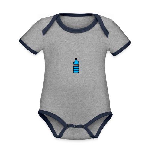 Bottlenet Tshirt Grijs - Baby contrasterend bio-rompertje met korte mouwen