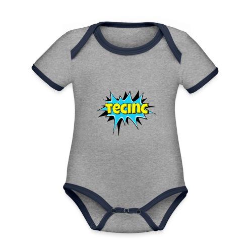 Cartoon logo - Kortærmet økologisk babybody i kontrastfarver