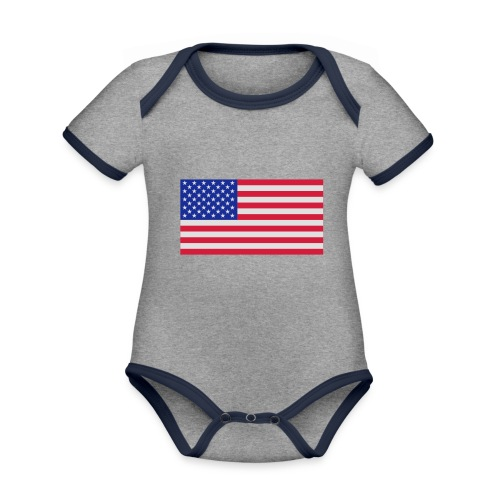 USA / United States - Baby contrasterend bio-rompertje met korte mouwen