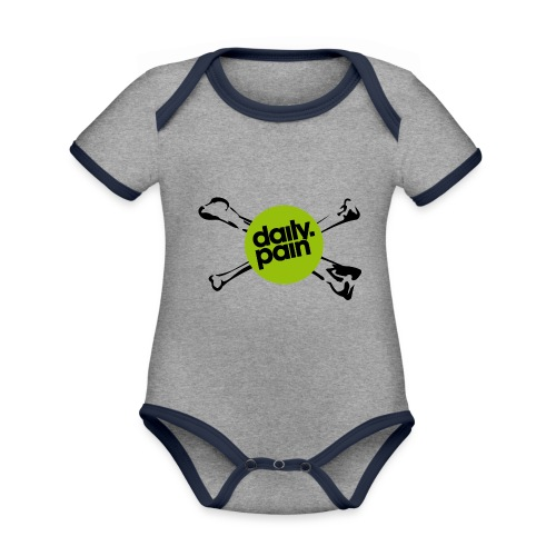 daily pain cho kark - Ekologiczne body niemowlęce z krótkim rękawem i kontrastowymi lamówkami