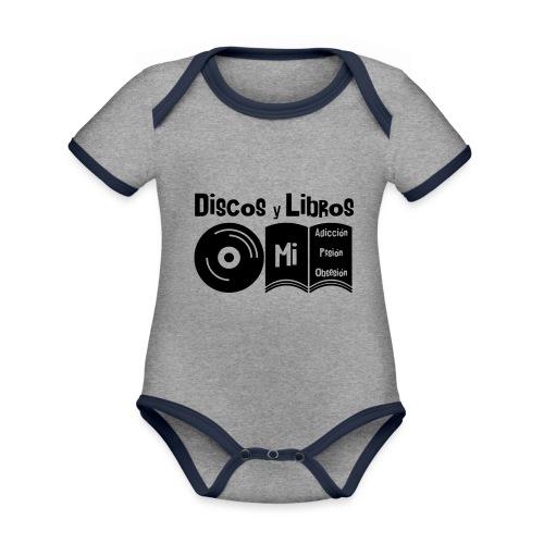 Discos y Libros - Body contraste para bebé de tejido orgánico