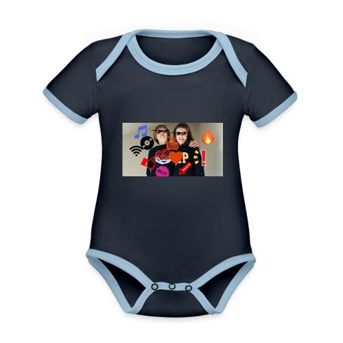 Coolrockskingen och Jojo - Ekologisk kontrastfärgad kortärmad babybody