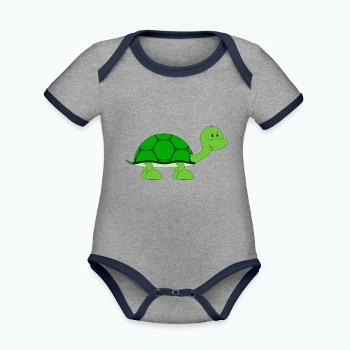 Totte Turtle - Appelsin - Ekologisk kontrastfärgad kortärmad babybody