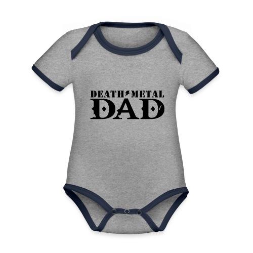 death metal dad - Baby contrasterend bio-rompertje met korte mouwen