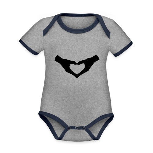 Herz Hände / Hand Heart 2 - Baby Bio-Kurzarm-Kontrastbody