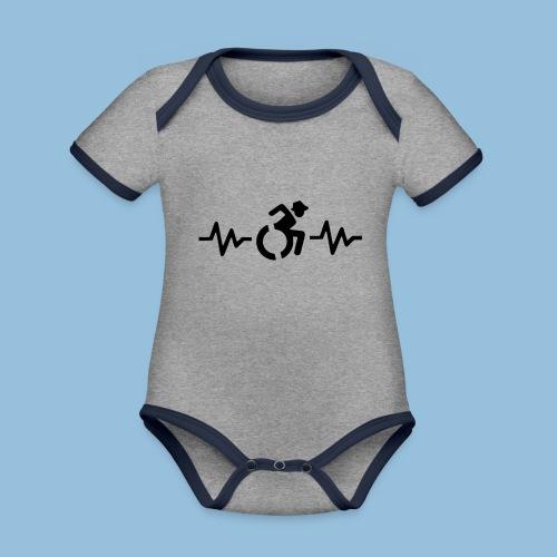 Wheelchairheartbeat1 - Baby contrasterend bio-rompertje met korte mouwen