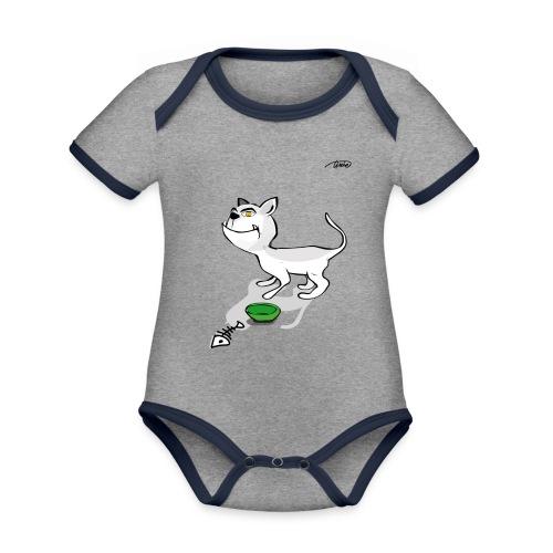 GATTONE - Body da neonato a manica corta, ecologico e in contrasto cromatico