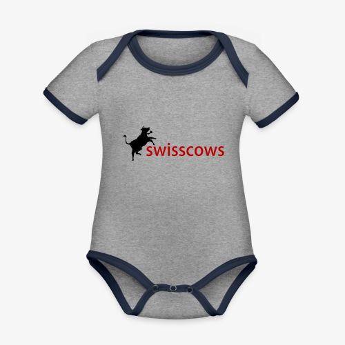 Schwarz-Rot Hoodie - Baby Bio-Kurzarm-Kontrastbody