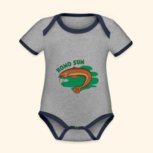 Homo sum ;) - Ekologiczne body niemowlęce z krótkim rękawem i kontrastowymi lamówkami