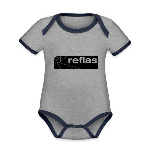 Reflas Clothing Black/Gray - Body da neonato a manica corta, ecologico e in contrasto cromatico