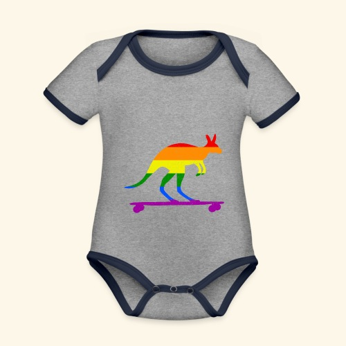 Skater Känguru Longboard Skateboard Regenbogenfahn - Baby Bio-Kurzarm-Kontrastbody