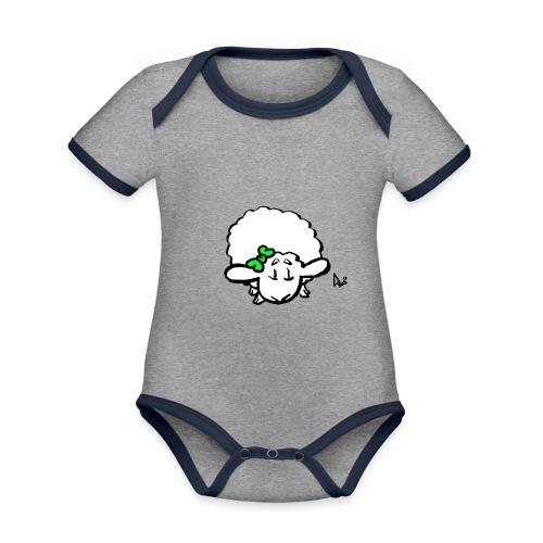 Baby Lamb (green) - Baby contrasterend bio-rompertje met korte mouwen