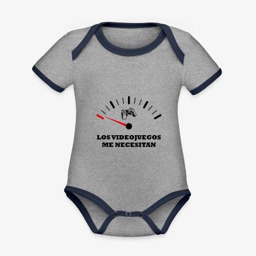 LOS VIDEOJUEGOS ME NECESITAN - Body contraste para bebé de tejido orgánico