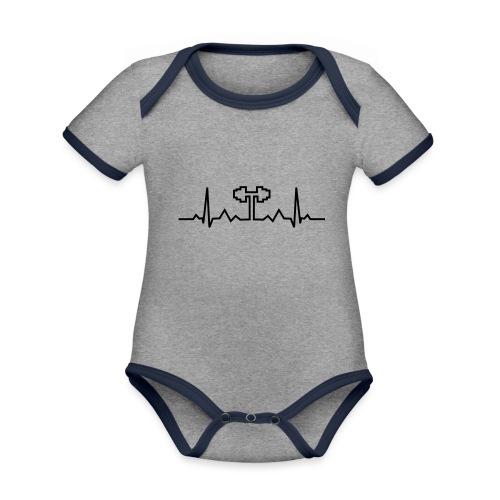 Herzschlag-Hantel, Bodybuilding, Crossfit, Fitness - Baby Bio-Kurzarm-Kontrastbody