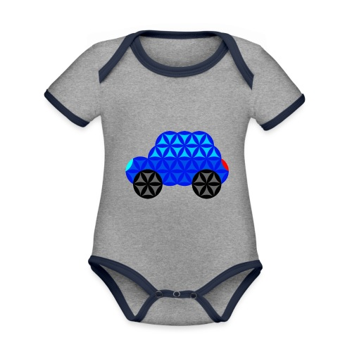 The Car Of Life - M01, Sacred Shapes, Blue/R01. - Organic Baby Contrasting Bodysuit