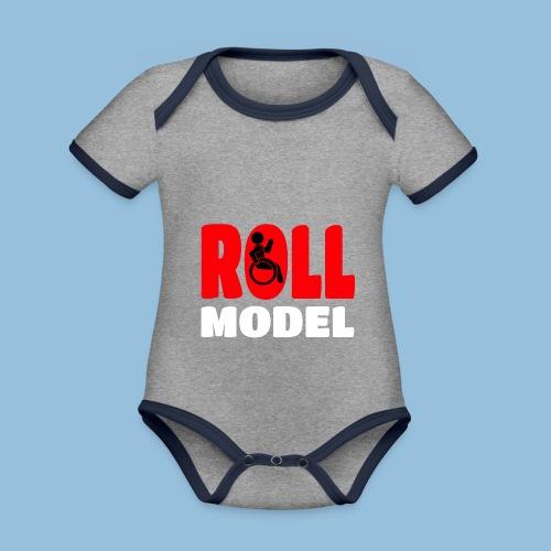 Roll model 015 - Baby contrasterend bio-rompertje met korte mouwen