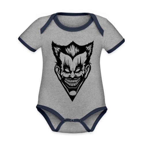Horror Face - Baby Bio-Kurzarm-Kontrastbody