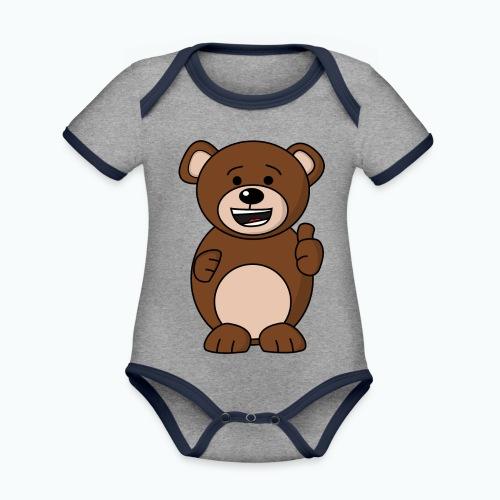 Bruno Bear Happy - Appelsin - Ekologisk kontrastfärgad kortärmad babybody
