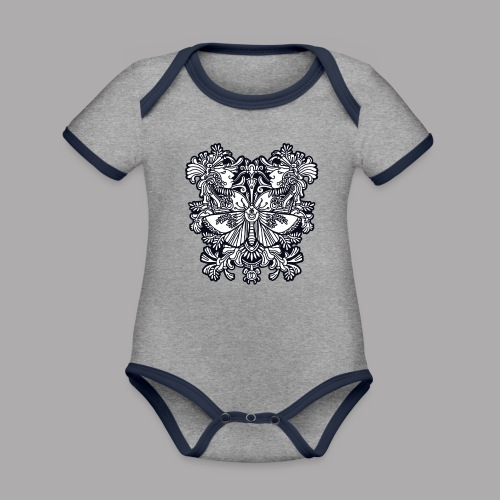 moth black - Organic Baby Contrasting Bodysuit