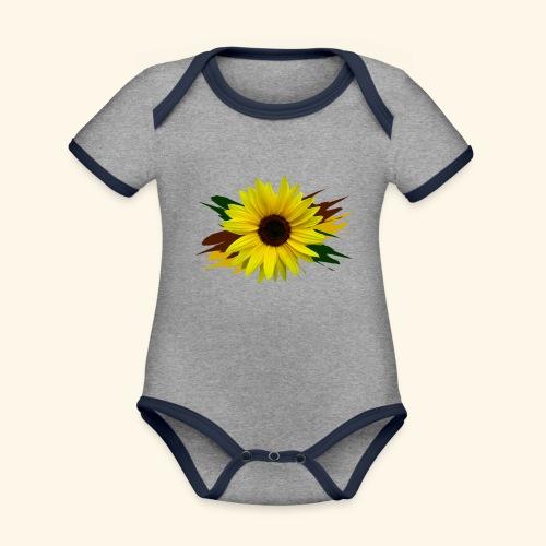 Sonnenblume, Sonnenblumen, Blume, floral, blumig - Baby Bio-Kurzarm-Kontrastbody