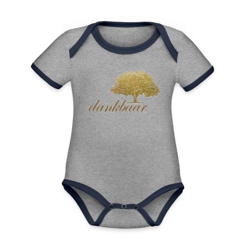 Dankbaar Boom Goud - Baby contrasterend bio-rompertje met korte mouwen