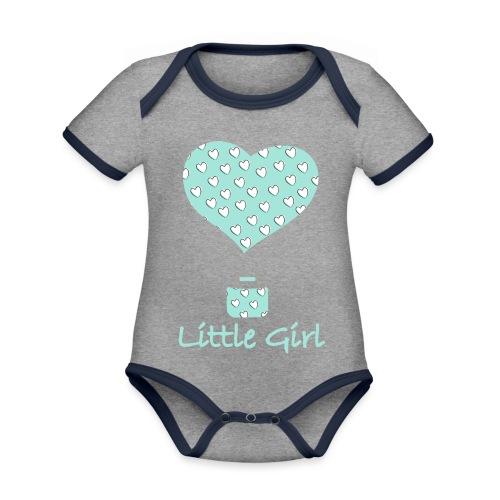 Little Girl in mongolfiera - Body da neonato a manica corta, ecologico e in contrasto cromatico