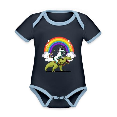 Unicorn Riding Ninja - Vauvan kontrastivärinen, lyhythihainen luomu-body