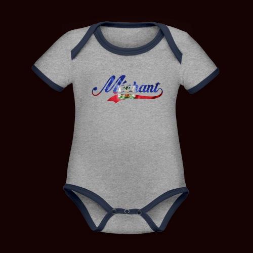 méchant drapeau haïtien - Body Bébé bio contrasté manches courtes