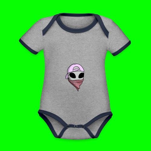 gangsta alien logo - Body da neonato a manica corta, ecologico e in contrasto cromatico