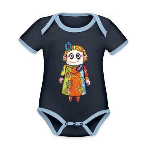 Vauda la poupée - Body Bébé bio contrasté manches courtes